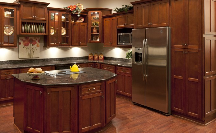 Cherry Cabinets In Small Kitchen